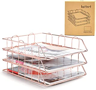 Baffect Classeur A4 à 3 niveaux, classeur à lettres superposable Bureau Rangement de bureau Document Classeur Papier Lettr...