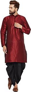 Sojanya Men's Dupion Silk Kurta Dupion Silk Dhoti Set Red