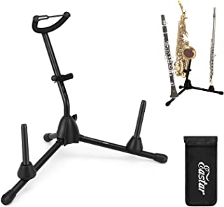 Eastar EST-004 Portable Alto Saxophone Stand Sax Stand with 2 Detachable Pegs for Flute and Clarinet Peg and Bag, 3 in 1, Black