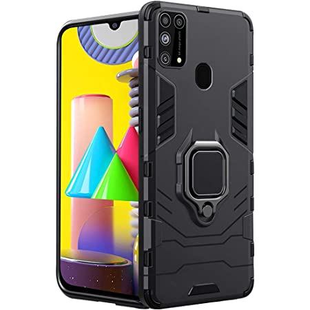 TheGiftKart Tough Armor Bumper Polycarbonate Back Case Cover with in-Built Ring Holder & Kickstand for Samsung Galaxy M31 Prime / F41 / M31 (Carbon Black)
