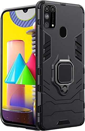 TheGiftKart Samsung Galaxy M31 Prime F41 M31 Tough Armor Bumper Back Case Cover Ring Holder Kickstand in Built Excellent 360 Degree Protection Carbon Black