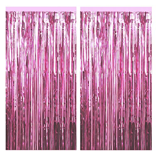 FECEDY 2pcs 3ft x 8.3ft Light Pink Metallic Tinsel Foil Fringe Curtains Photo Booth Props for Birthday Wedding…