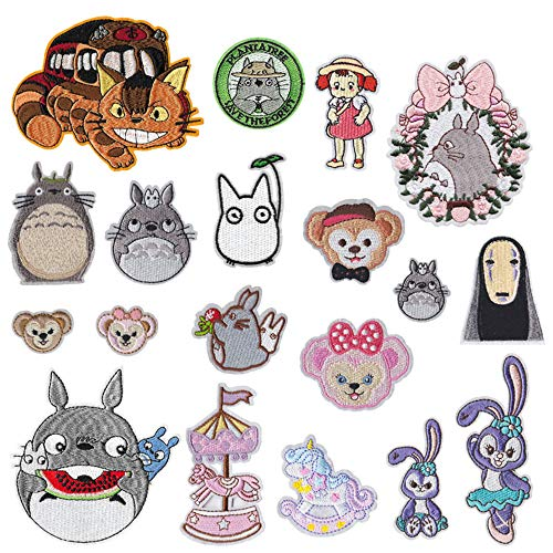 Iron on Patches 19 Pieces Anime Embroidered Iron on/Sew on Decorative Applique Patch Patches for DIY Jeans, Jackets, Shirts, Bag, Caps (Totoro 19Pieces)