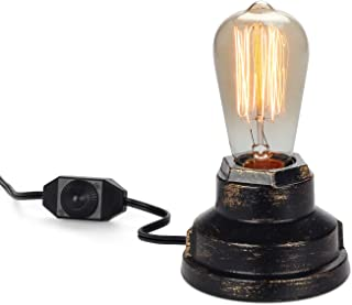 Vintage Table Lamp Industrial Wrought Iron Desk Lamp with Dimmer Switch Steampunk Antique..