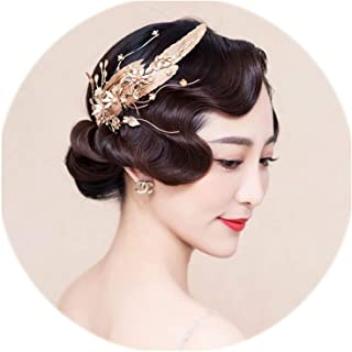 Baroque Golden Feather Bridal Headdress Crystal Pearl Wedding Prom Headpiece Vintage Bridal Hair Jewelry Hair Comb Accessories