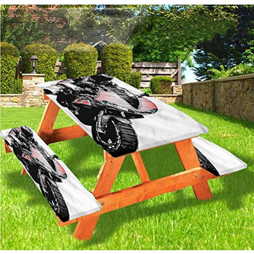 Motorcycle Picnic Table and Bench Fitted Tablecloth Cover,Rider Rally Race Design Elastic Edge Fitted Tablecloth,28 x 72 Inch, 3-Piece Set for Camping, Dining, Outdoor, Park, Patio