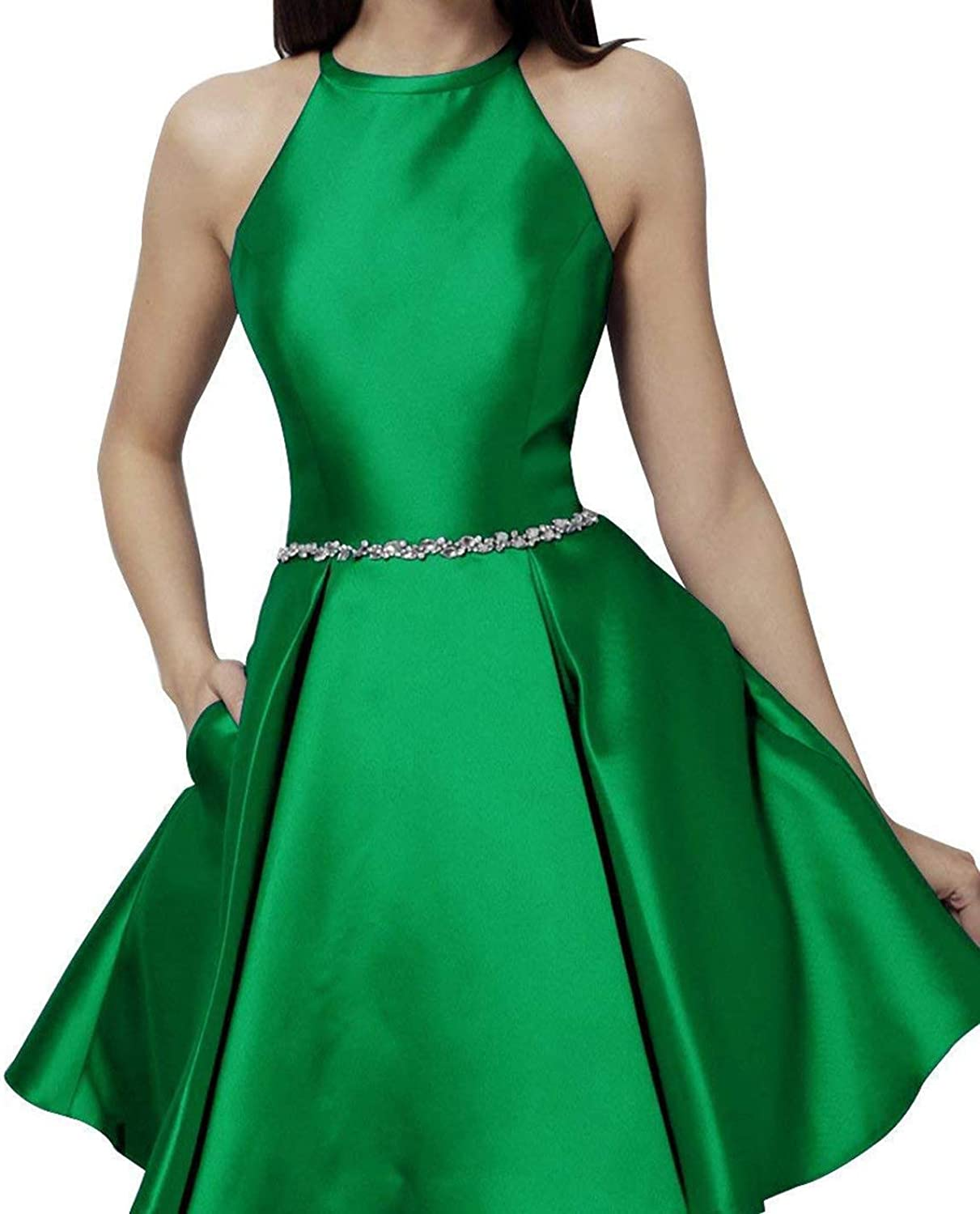 XingMeng Halter Short Homecoming Dress Beaded Satin Mini Prom Cocktail Dress