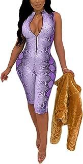 Women's Sexy Mock Neck Sleeveless Snakeskin Zip Up Bodycon Short Pants Romper Jumpsuit Party Clubwear Catsuit
