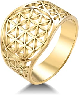 cooltime Stainless Steel Statement Ring Flower of Life Womens Band Ring Fashion Jewelry for Women Ladies