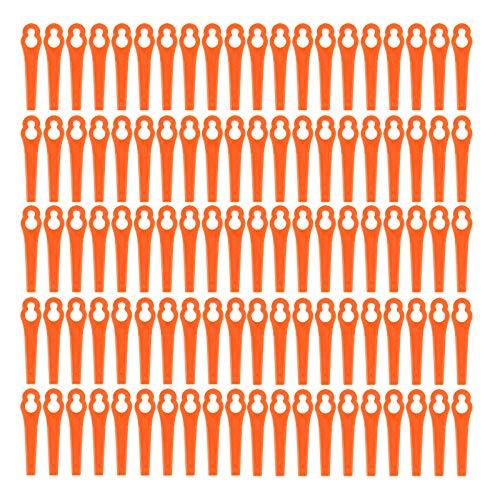 100x Kunststoffmesser Freischneider Elektrosense Ersatzmesser Kunststoff Ersatz Messer Klingen Wechsel Schneid fuer Einhell Akku Rasentrimmer Trimmer Orange