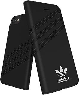 【アディダス公式ライセンスショップ】アディダスオリジナルス iPhone6/6S/7/8ケース 手帳型 スエード素材 x 3ストライプ ブラック [adidas OR 3 stripes Booklet case Suede -iP6/6S/7/8-Black/White]