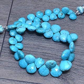 Perlas de briolette de corazón facetadas de piedras preciosas naturales AAA + turquesa de 6 mm a 9 mm | Cuentas sueltas de...