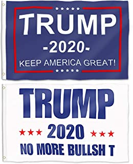 Aisto 2 Pieces 3x5 Feet Donald Trump Flag for President 2020 Keep America Great Flag No More Bullsht Flag