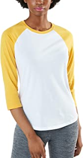TSLA Women's Dynamic Cotton Raglan Baseball 3/4 Sleeve Active Top T-Shirt