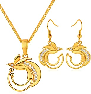 U7 Birds of Paradise Design Necklace Earrings Set 18K Gold Plated Papua New Guinea Ethnic Jewelry