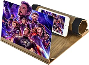 Newseego 12 inches Phone Screen Magnifier 3D HD Movie Videos Solid Wood Grain Foldable Mobile Phone Magnifying Screen Suitable for All Smartphones