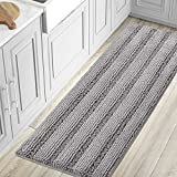 Bath Rugs for Bathroom Washable Non Slip Extra Thick Chenille Striped Bath Mat Rug Runners 59' x 20' Absorbent Fluffy Soft Shaggy Mats Dry Fast Plush Area Carpet for Bath Room, Tub - Dove