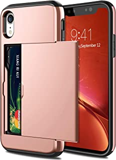 SAMONPOW Case for iPhone XR Hybrid iPhone XR Wallet Case Card Holder Shell Heavy Duty Anti Scratch Dual Layer Hard PC Soft Rubber Bumper Cover for iPhone XR 6.1 inch Rose Gold