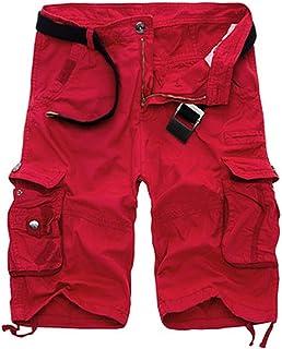 Mens Shorts Army Shorts Cotton Loose Work Casual Short Pants Plus Size No Belt