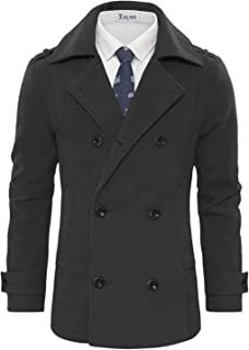 Sponsored Ad - TAM WARE Men's Stylish Wool Blend Double Breasted Pea Coat