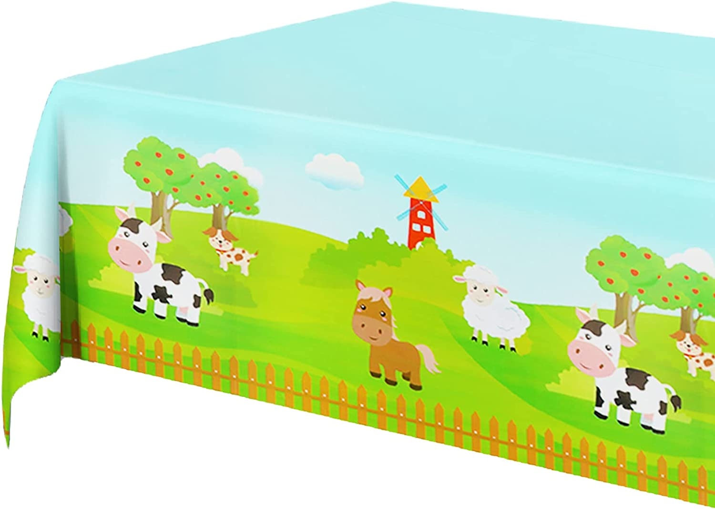 New sales 3PCS Sacramento Mall Farm Animal Party Disposable Rectangula Plastic Tablecloth