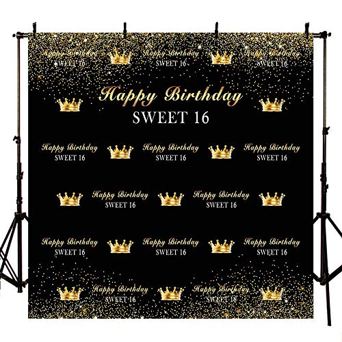 MEHOFOTO Sweet 16 Black and Gold Crown Photo Background Happy Birthday Party Decorations Banner Backdrops for Photography 8x8ft