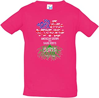 Tenacitee Infant's American Grown with Saudi Roots Shirt, 18 Months, Hot Pink