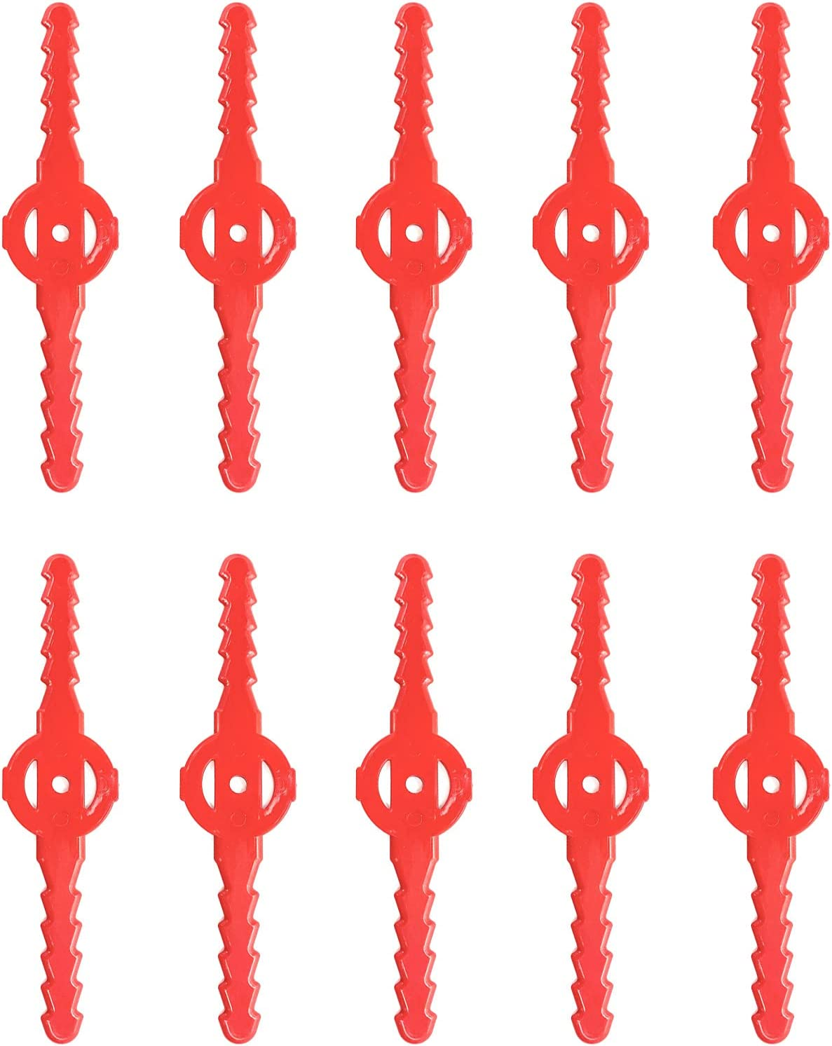 String Trimmer Head Blades Plastic Lawn Mower Blades Grass Trimmer Head Replacement Cutter Garden Tool Compatible with Cordless Grass Trimmer FH-GT120 (10, Red)