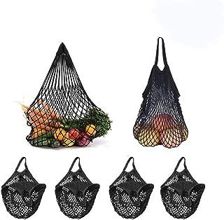 4 Pack Reusable Mesh Cotton Net Market String Bag Organizer (Multipurpose, Portable Shopping Tote Handbag), for Grocery Shopping & Outdoor Packing, Storage, Fruit, Vegetable(Black)
