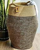 Goodpick Cesta para la colada alta | Cesta de yute tejida para ropa sucia moderna cesta grande en la lavandería, 25,6 cm de altura