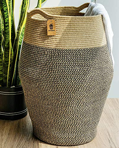 Goodpick Tall Laundry Hamper | Woven Jute Rope Dirty Clothes Hamper Modern Hamper Basket Large in Laundry Room, 25.6' Height