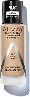 Almay Skin Perfecting Comfort Matte Foundation, Hypoallergenic, Cruelty Free, Fragrance Free, Dermatologist Tested Liquid Makeup, Neutral Beige, 1 Fluid Ounce