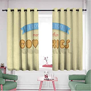 Mannwarehouse Grommet Blackout Curtains, Curtain Decorative I Love You More More Than Cookies Sweet Vanilla Cookies Font with Letter O is as Heart Multicolor