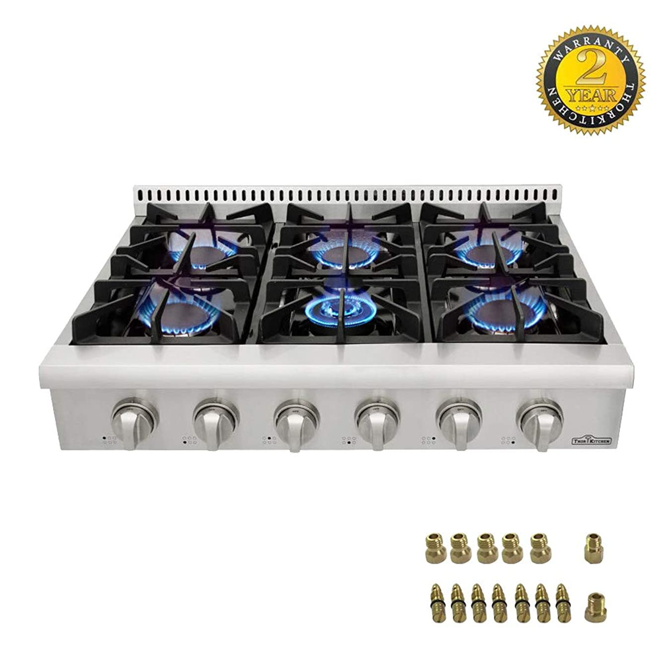 Thor kitchen Pro-Style Gas Rangetop with 6 Sealed Burners 36 - Inch, Stainless Steel HRT3618U + LP Conversion Kit