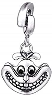 EVESCITY Limited Edition Cheshire Cat 925 Sterling Silver Bead for Charms Bracelets for Charm Bracelets Like Pandora & Others ♥ Best Jewelry Gifts for Alice and Wonderland Fans ♥