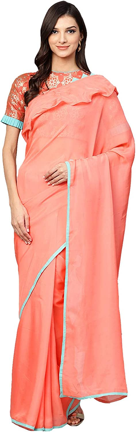 Inddus Peach Ruffle Party Wear Saree With Blouse Piece