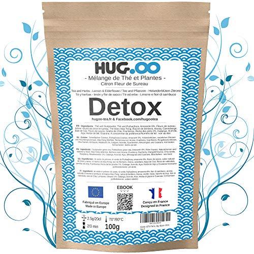 HUGOO Té verde DETOX | Limón-Flores de saúco | Infusión