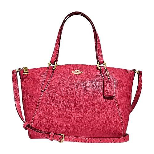 Coach Pebble Leather Mini Kelsey Satchel Crossbody Handbag (True Red)