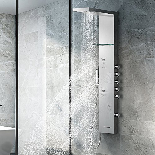 Vantory Shower Panel Head SUS 304 Stainless Steel Rainfall Multi-Function Tower Massage Systerm Wall Mount With 4 Body Jets,Waterfall Tub Spout,Brushed Nickle