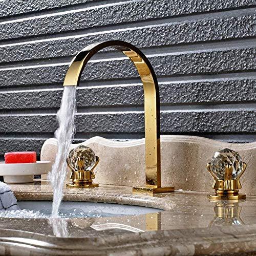 YZDD® Diffusione del rubinetto 3 pezzi Rubinetto per lavabo in ottone massiccio Rubinetto doppio manico Miscelatore olio Bronzo lucidato/Nichel spazzolato/Cromo/Oro
