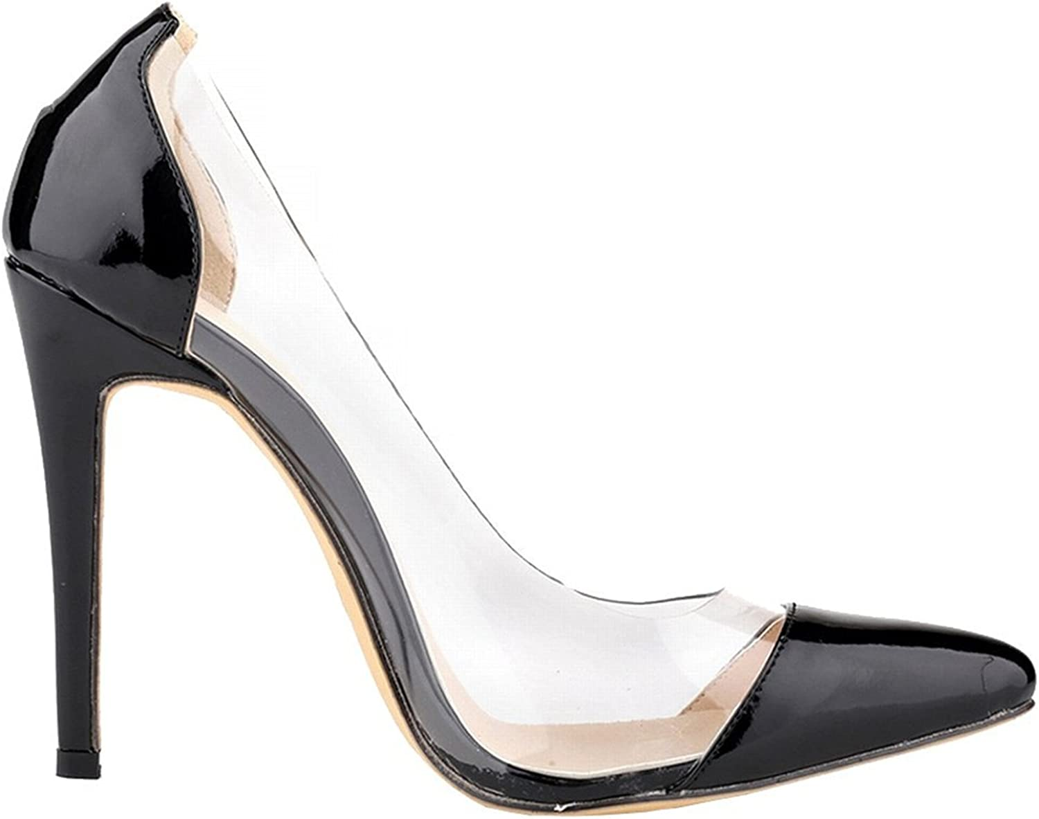 Oppicong Womens shoes Closed Toe High Heels Women's Pointed Slender Leather Pumps C-black9.5 B(M) US