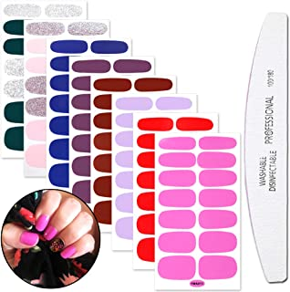 WOKOTO 8 Sheets Finger Nail Art Polish Strips Stickers For Nails Wraps Full Nail Self Adhesive Stickers Set With Nail File