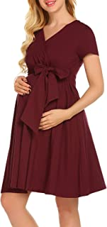 POPNINGKS Women Dress Pregnant Maternity Nursing Party Dress Sleeveless Dress Pregnancy Sundress Loose Maternity Dress
