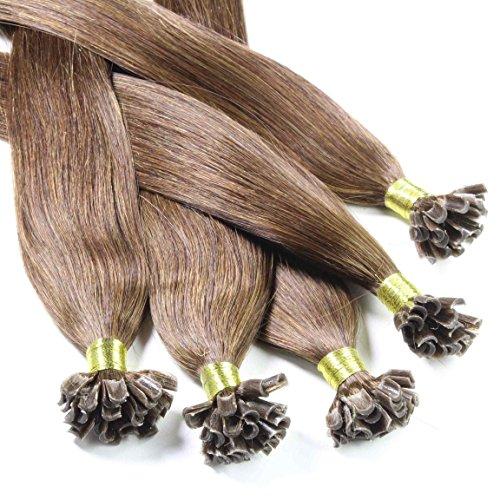 Hair2Heart 50 x 0,5g Extension Capelli Veri Cheratina - 30cm, colore #4 Marrone Cioccolato, liscio