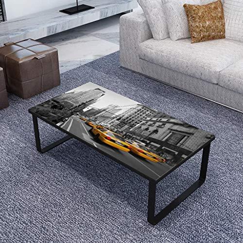 Zora Walter Negro y Impresión–Mesa con Tablero de Cristal Rectangular Salón Mesa Auxiliar Mesa sofá Mesa–Mesa de café–Hierro + Geh?rtetes Cristal, 30kg