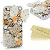 Mavis's Diary iPhone 5/iPhone 5S Case 3D Handmade Bling Crystal Lovely White Bow Golden Bag Orange Flowers with Shiny Sparkle Diamonds Gems Design Hard Clear Cover for iPhone 5/iPhone 5S