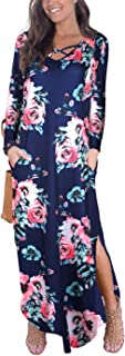 Women's Long Sleeve Criss Cross Loose Casual Maxi Fall Dresses with Pockets V Neck Floral Print Cover Up