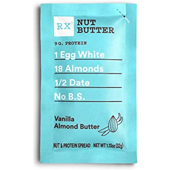 RX Nut Butter, Vanilla Almond Butter, 1.13oz, 10 Count, Keto Snack, Gluten Free