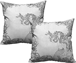warmfamily Breathable Pillowcase Mermaid Mermaid in Artsy Seashells Starfish Coral Reef Frame Ancient Culture Myth Artwork with Hidden Zipper W24 xL24 2 pcs