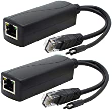 ANVISION 2-Pack Gigabit PoE Splitter, 48V to 5V 2.4A Micro USB Ethernet Adapter, Works with Raspberry Pi 3B+, Echo Dot, IP Camera and More